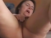 Big tited milf, Milou is rubbing her hairy pussy, while in front of the webcam